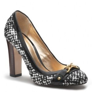 Coach black and white tweed heels